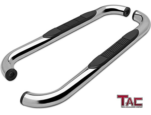 "TAC Side Steps Fit 99-18 Chevy Silverado/GMC Sierra 1500/99-19 Silverado/Sierra 2500/3500 Regular Cab (Excl. C/K Classic) (Body Mount) 3"" Stainless Steel Side Bars Nerf Bars Running Boards 2 Pcs"