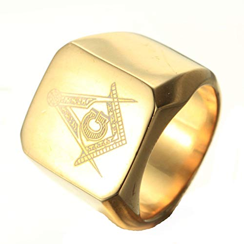 Aokarry Jewelry Men Stainless Steel Ring Promise Anniversary Polished Masonic Gold Size 11 ()