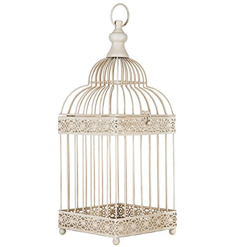 Antique White Metal Bird Cage by Everydecor