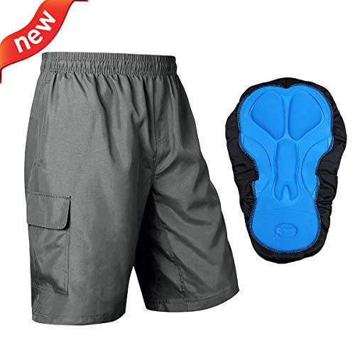 Baleaf Men's Mountain Bike Shorts 3D Padded MTB Cycling Shorts Quick Dry Grey Size L