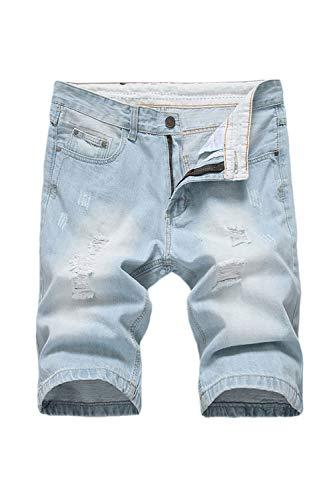 Vosujotis Hombres Pantalones Cortos De Mezclilla Ripper Hoyos Bolsillos Slim Plus Tamaño Jeans Blue1