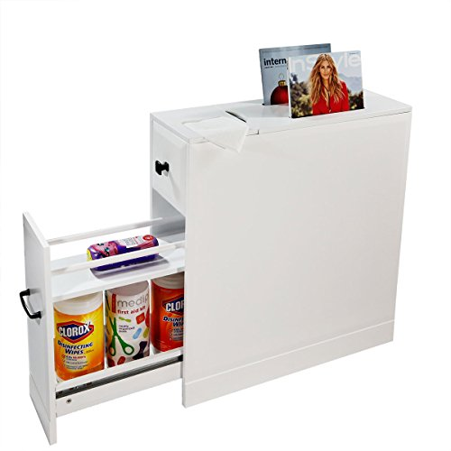 Clevr Bathroom Cabinet | Free Standing Cabinet with Slide-Out Drawers | Storage Shelves & Newspaper Magazine Holder | - 8 Inch Storage Cabinet