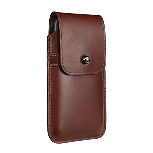 Blacksmith-Labs Barrett 2017 Premium Genuine Leather Swivel Belt Clip Holster for Apple iPhone X for use with no cases or covers - Brown Cowhide/Gunmetal Belt Clip
