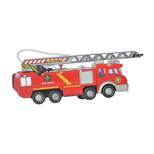 Rifi Electric Fire Truck, 10 inch Bump and Go Action Engine Rescue Vehicle On/Off Sound Lights Siren Extending Ladder and Water Pump Hose, Fire Fighting Toy