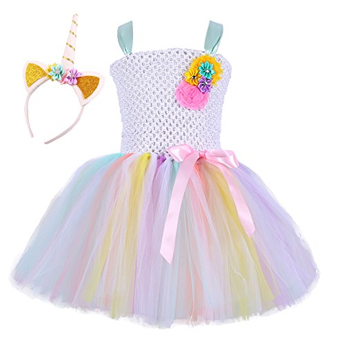 Tutu Dreams Fancy Kids Girls Tutu Dress for Birthday Party with Unicorn Headband (Aqua, X-Large)