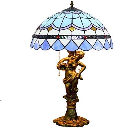 YUXINXIN 16インチのステンドグラスのテーブルランプヨーロッパのブルーの地中海クリエイティブステンドグラスリビングルームダイニングルームベッドルームベッドサイド美容合金デスクランプ