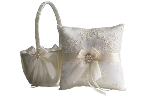 (Alex Emotions | Lace Guipure Collection | Ivory Bearer Pillow & Wedding Basket Set (Ivory))