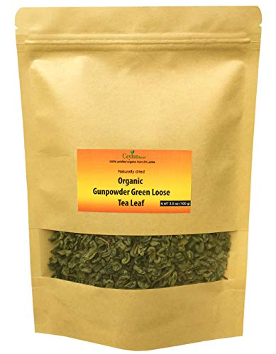 - Ceylon flavors organic gunpowder green loose leaf tea premium grade from Ceylon Sri Lanka 3.5 oz
