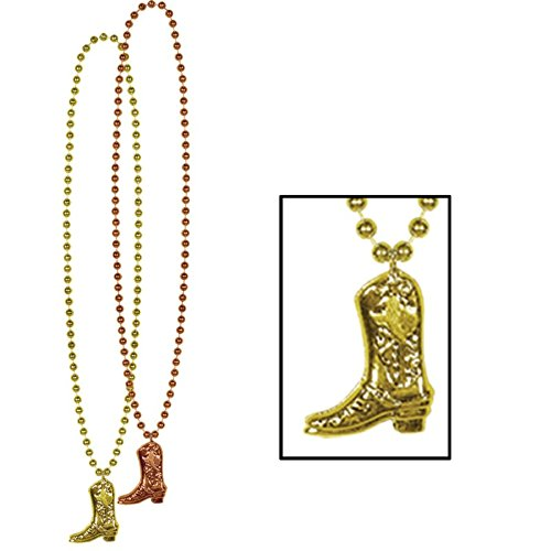 rted Gold and Copper Cowboy Boot Medallion Beaded Necklace Party Favors 33'' ()