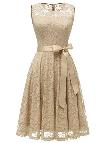 Dressystar 0009 Floral Lace Dress Short Bridesmaid Dresses with Sheer Neckline Champagne S