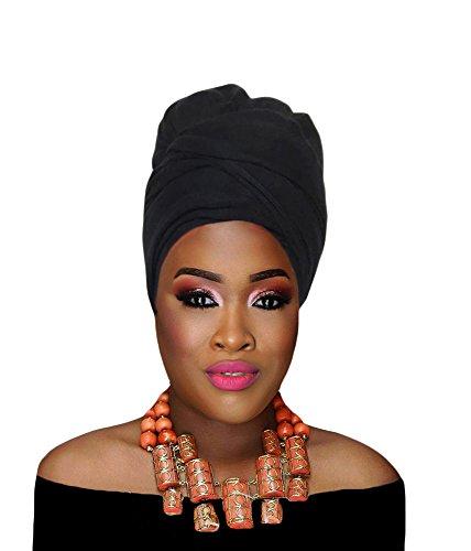 Hana's Women's Stretch Turban Head Wrap Hair Jersey Knit Scarf Tie (One Size, Black)