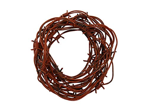 Nicky Bigs Novelties 24' Fake Rusted Barbed Barb Wire Halloween Decoration Rusty Wire Prop Garland ()