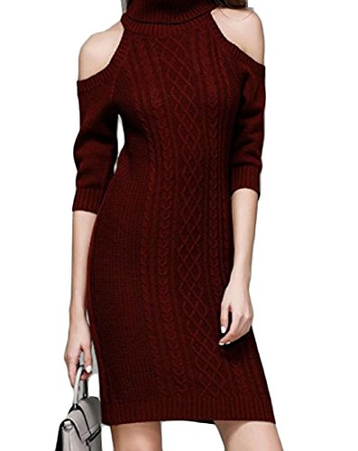 Out Elegant Coolred High Cut Sundress Red Knit Shoulder Neck Wine Women Dresses 1H0wHt