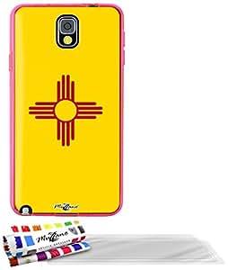 """Carcasa Flexible Ultra-Slim SAMSUNG GALAXY NOTE 3 / N9000 de exclusivo motivo [Nuevo Mexico Bandera] [Rosa] de MUZZANO  + 3 Pelliculas de Pantalla """"UltraClear"""" + ESTILETE y PAÑO MUZZANO REGALADOS - La Protección Antigolpes ULTIMA, ELEGANTE Y DURADERA para su SAMSUNG GALAXY NOTE 3 / N9000"""