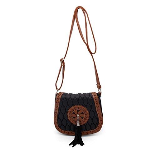 Tongshi Bolsa de hombro del bolso de la silla de montar hueco vendimia de las mujeres hacia fuera Mujer Mensajero Negro