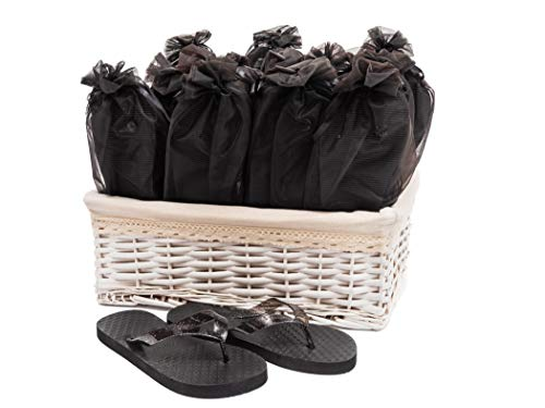 Modo Wedding Party Black Flip Flops in Wicker Basket for sale  Delivered anywhere in USA