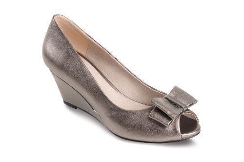 FANTASIA BOUTIQUE ® Ladies Peep Toe Pewter Black Smart Heel Bow Accent Women's Wedges Shoes Pewter WHZFP