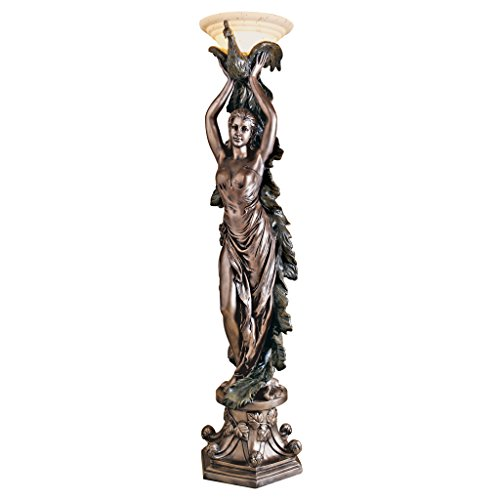 Design Toscano KY7932 The The Peacock Goddess Sculptural Floor Torchière Lamp, 74 Inch, Bronze Verdigris - Torchiere Deco Art