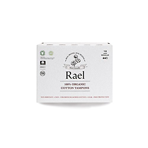 Rael 100% Certified Organic Regular Tampons, Non-Chlorine Bleached Non-Applicator Tampons(18 Total) (1 Pack)