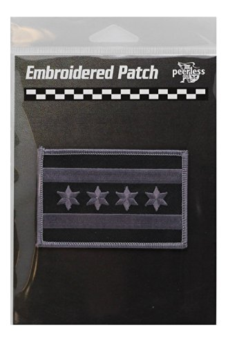Chicago Flag Black and Grey Patch