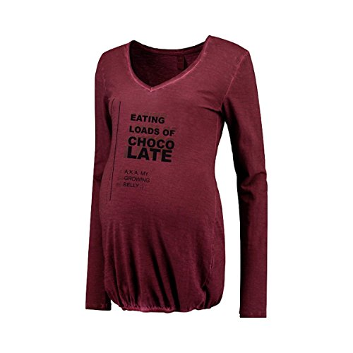 LOVE2WAIT-Camisa de maternidad Chocolate maternidad maternidad-Camiseta de manga corta rojo borgoña