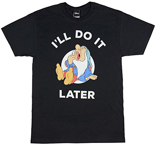 Disney Snow White Sleepy Dwarf I'll Do It Later Men's T-Shirt (XX-Large) ()