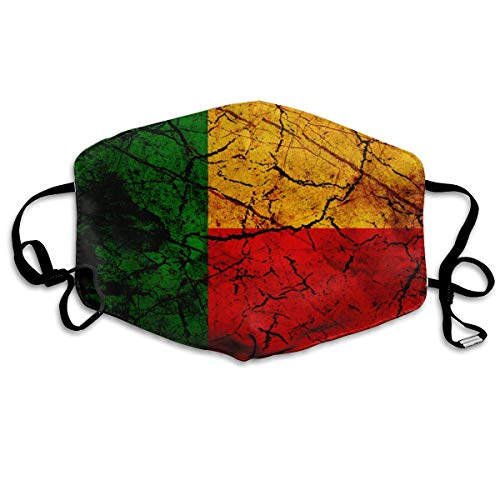 Vintage Benin Flag Mouth Mask Unisex Anti-dust Cotton Face Mask for Men and Women, Boys and Girls