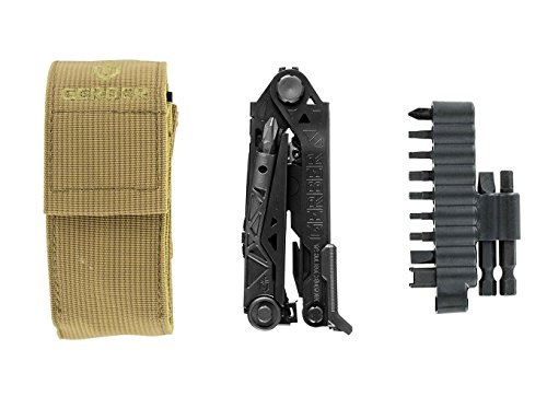 Gerber Center-Drive Black Multi-Tool - M4 Bit Set, Coyote Brown US-Made Sheath (30-001426)