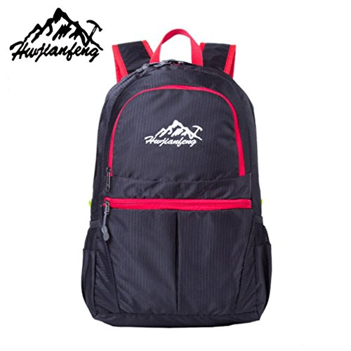 "Fulltime (TM)–al aire libre impermeable BIONIC camuflaje patrón plegable mochila paquete bolsa, hombre mujer Infantil, morado, (12 x 16.5 x 8.6)"" / (30.8*42*21.8)cm negro"