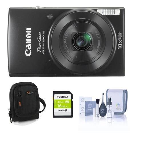 Canon PowerShot ELPH 190は20 MPデジタルカメラ、ブラック – Bundle with 16 GBクラス10 SDHCカード、カメラケース、クリーニングキット   B01D40A4NA