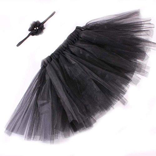 [DZT1968® Baby Girl Headband With Tutu Skirt Dress Costume Photo Prop Outfit (Black)] (Black Angel Fancy Dress Costumes)