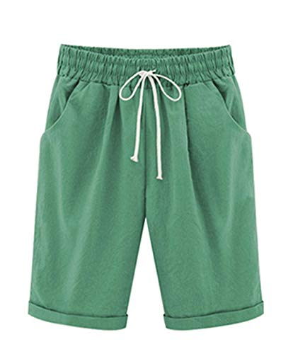 - Vcansion Women's Loose Elastic-Waisted Bermuda Drawstring Casual Shorts Grass Green Asian 3XL/US 8-10