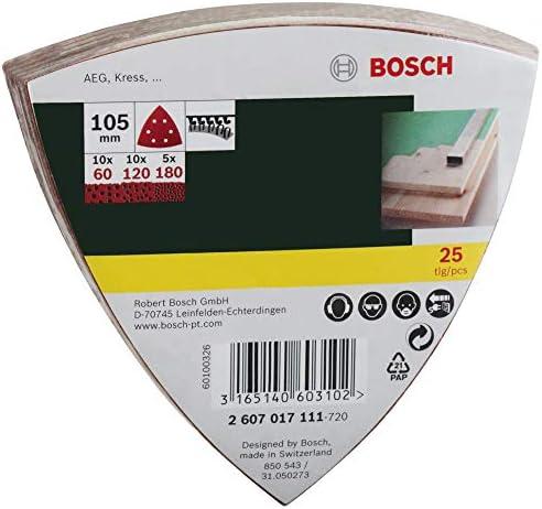 Bosch 2607017111 Set de 25 abrasifs pour Ponceuse Delta 105 mm Grains 60//120//180