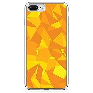 Loud Universe iPhone 7 Plus Transparent Edge Case - Mango Yellow Geometrical Pattern