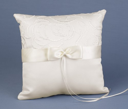Hortense B. Hewitt Wedding Accessories Satin and Swirls Ring Pillow, Ivory, 8-Inch Square
