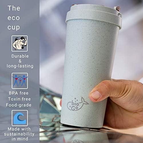 Taza de viaje reutilizable bioGo | 15oz / 450ml | Fibra de cáscara ...
