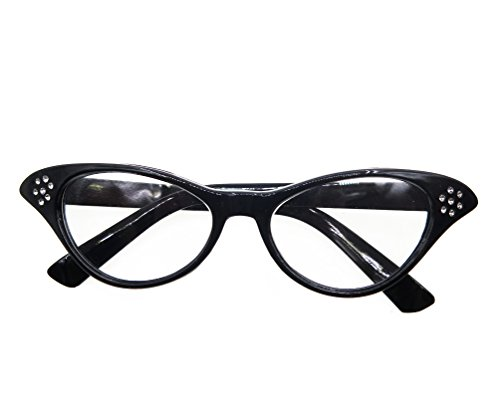 TDmall Black and White Vintage Cat Eye Glasses with Rhinestones 50s 2 Pack (Fifties Cat Eye Rhinestone Glasses)