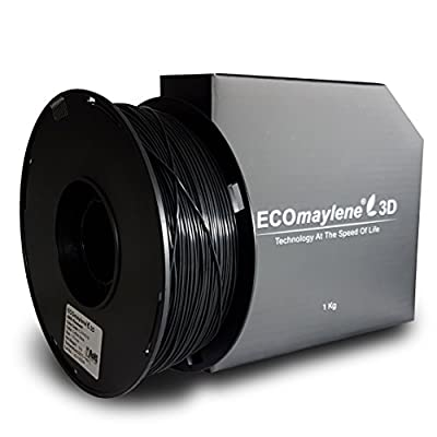 ECOmaylene3D ABS Printer Filament 1Kg Spool Coffee Black 1.75mm Dimensional Accuracy +/- 0.05 mm | Consistent 3D Printing, Great Density & Layer Bonding, Low to No Warping, Low to No Odor & Easy Use