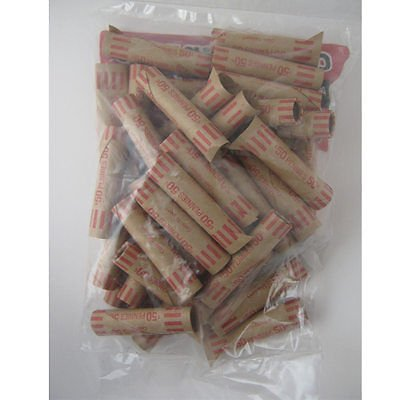 72 Preformed Penny Tubes Paper Coin Wrapper 1 Cent Pennies Shotgun Roll Counter New