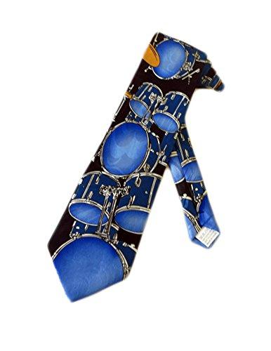 Fratello Mens Drum Set Necktie - Blue - One Size Neck Tie
