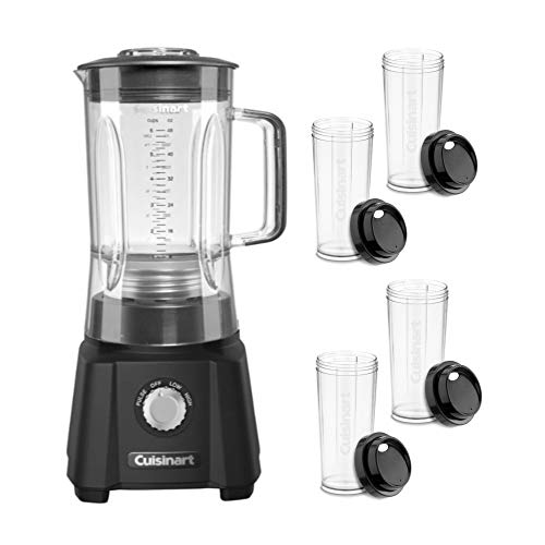 Cuisinart CBT-600 600-Watt Velocity Blender (Matte Black) Bundle with Four Travel Cups (2 Items)
