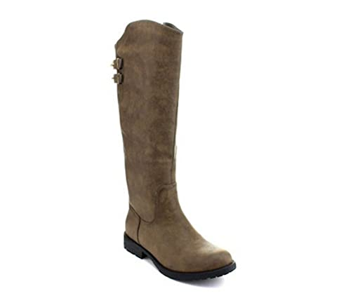 a27a773a458 Women's Faux Leather Knee High Studded Riding Boots in Black, Cognac,  Grey/Taupe