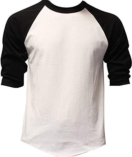 DealStock Casual Raglan Tee 3/4 Sleeve Tee Shirt Jersey White/Black