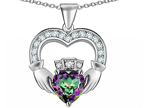 Star K Hands Holding 8mm Crown Heart Claddagh Pendant Necklace with Rainbow Mystic Quartz Sterling Silver