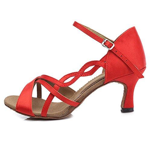 YFF Satin Women's Professional Ballroom Dance Shoe Girls Latin Dance shoes 3 Colors Red 7CM 4wLHlBE