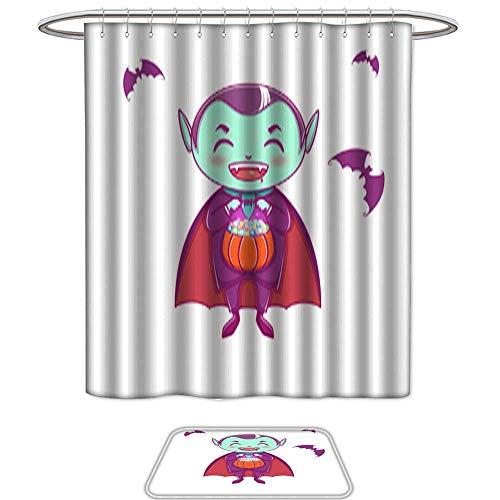 Shower Curtain Floor Mat Set of 2Halloween Little Vampire Dracula Boy Kid with Smiling face in Halloween Costume with Pumpkin in his Hands Mildew Resistant Slip mat Bath Rugs -