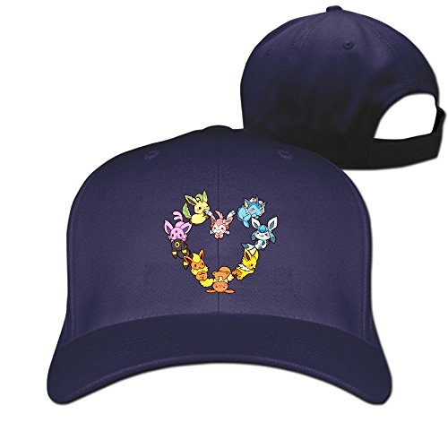 SAXON13 Unisex Hip Hop Baseball-Caps Meshback Eevee Family Heart Hat Caps (Eevee Evolution Costumes)