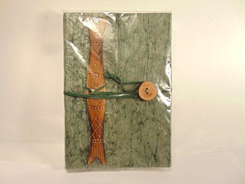 - Nepalese Daphne Bush Bark Hand Crafted Artist Writer's Journal Sage Green with Wood Fish & Button Closure Embellishment