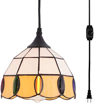 HMVPL Vintage Tiffany Glass Pendant Ceiling Light with 16.4 Ft Plug in Cord and On Off Dimmer Switch, Round Multicolored Swag Hanging Lamp for Kitchen Island Dining Room or Bed Room 8.2 W