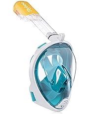 Flyboo Máscara de Snorkel,180° Vista Máscara de Buceo con diseño panorámico de Cara Completa Cámara Deportiva Compatible Máscara de Buceo con tecnología Anti-Niebla y Anti-Fugas para Adultos y niños